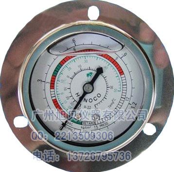 供应空调制冷冷媒雪种压力表0-1.5mpa轴向带边压力表
