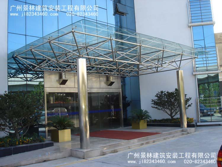 玻璃屋,阳光板雨蓬,各 广州钢结构pc耐力板雨棚挡雨棚 承接钢结构厂房