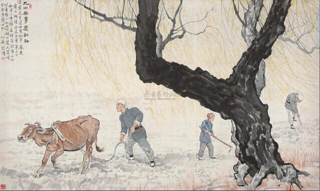 《九州无事乐耕耘》是一幅农耕题材的作品,这种人与动物相结合的