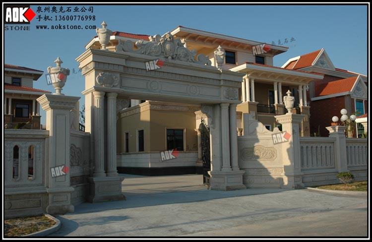 别墅围墙大门石材干挂 别墅喷泉石雕 小区别墅幕墙石材