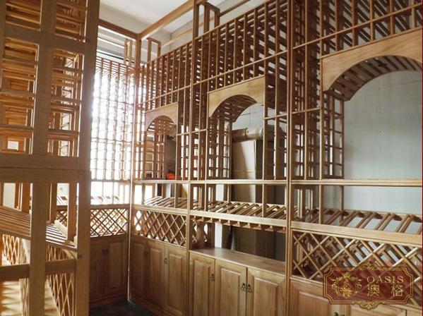 红酒窖设计|实木酒架设计实物图