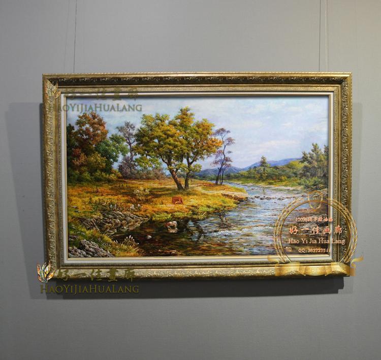 欧式油画纯手绘玄关客厅房间家居装酒店山水风景装饰