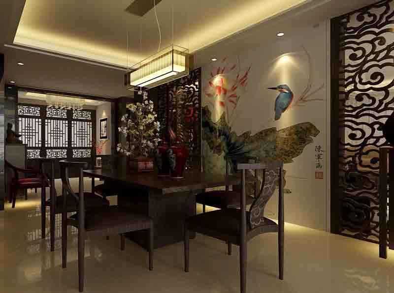 中式风格装修效果图1-青岛洲易建筑装饰有限公司