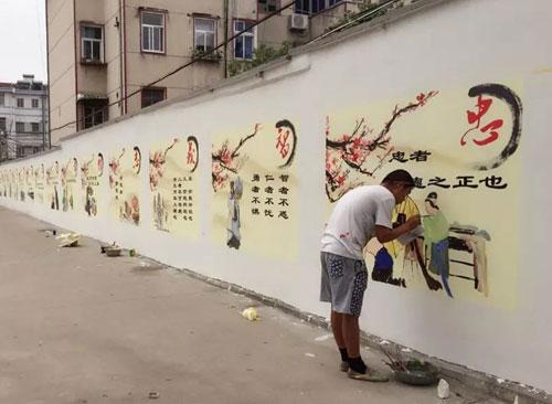 手绘古建场景儿童