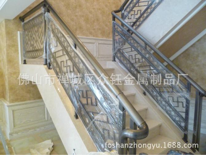 室内不锈钢板镂空花格仿古铜艺术楼梯护栏