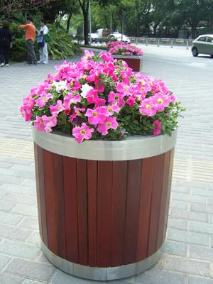 供应花箱 花箱 不锈钢包边圆形花箱