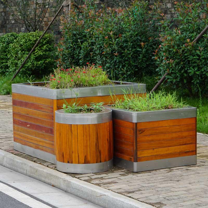 不锈钢花箱不锈钢包边组合花箱防腐木套装花盆三件套
