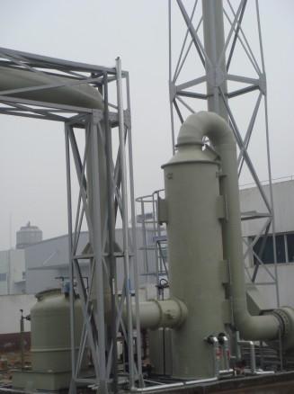 排气管:在洗涤塔顶部连接着排气管