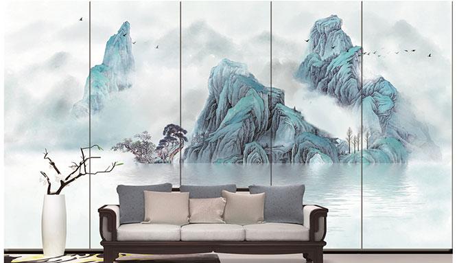 厂家批发 新中式壁画 后现代水墨画装饰画 大尺寸定做图片