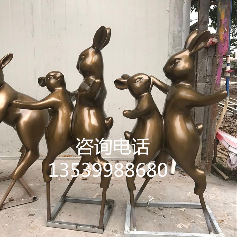供应商直销仿真兔子雕塑 玻璃钢动物小品 园林艺术