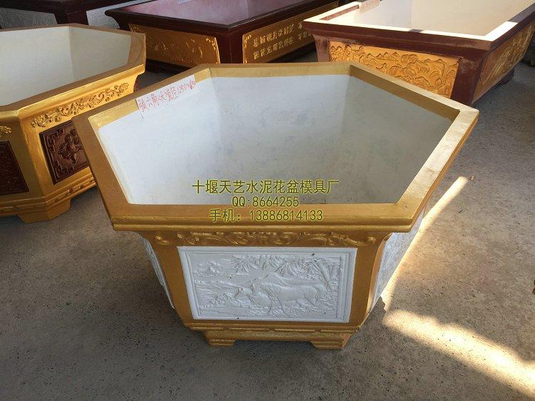供应福州六角形直径1.25米玻璃钢浮雕花盆模具-湖北十堰模具厂家