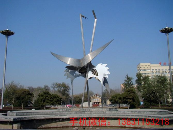 动物抽象景观不锈钢雕塑 仙鹤不锈钢雕塑制作