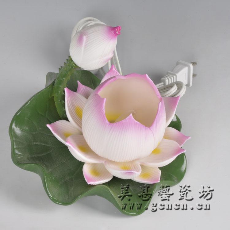 供应北京宝永莲花灯陶瓷工艺品观音佛像摆件摆设观音