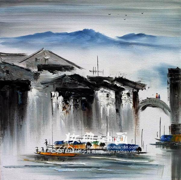 大芬纯手绘油画原创无框风景江南水乡装饰油画《相望》画面蓝蓝的湖