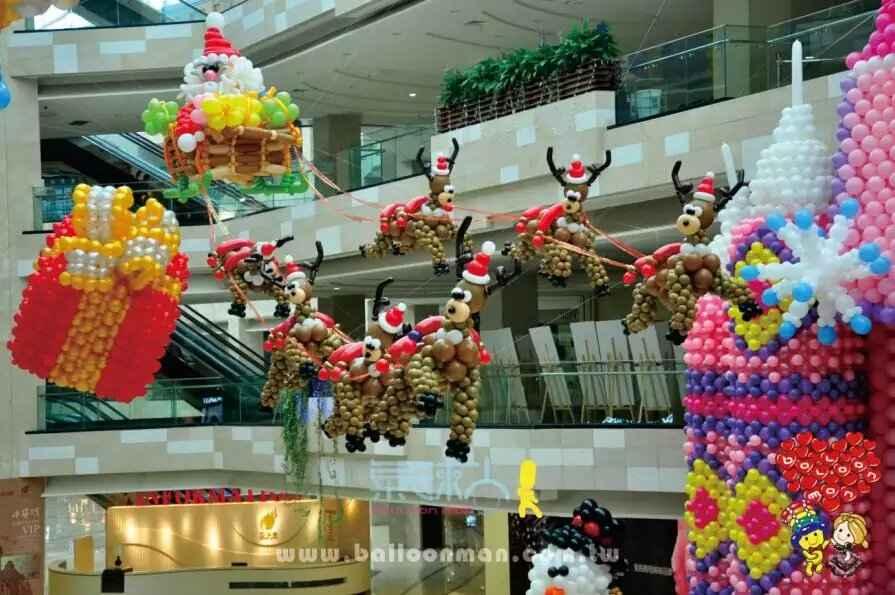 圣诞元旦气球布置幼儿园商场房地产气球装饰