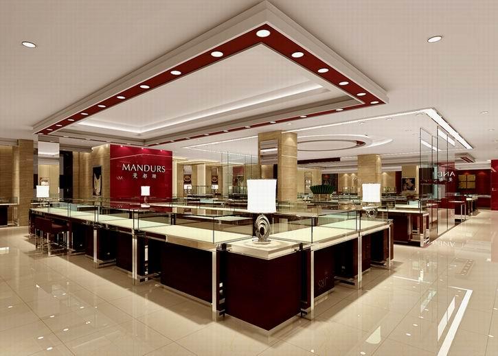 供应珠宝店设计,珠宝展柜制作