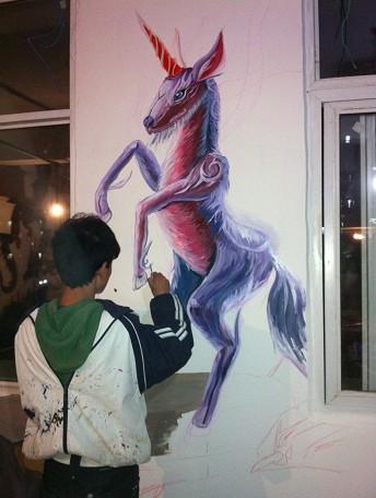 供应网吧彩绘壁画/墙绘 动漫人物 郑州艺尚给您一个