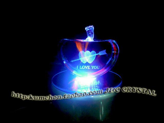 超漂亮3d水晶内雕摆件激光摆件水晶苹果v水晶cijilu在线视频lulhei图片