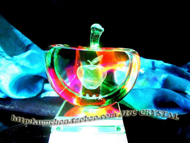 3d水晶内雕礼品摆件激光苹果工艺品装饰品摆图纸米尔卡护卫舰图片