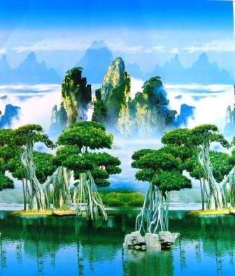供应风景画窗帘-北京新泰窗帘布艺装饰公司